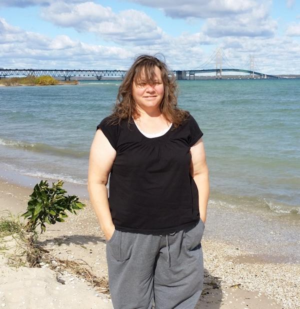 Author Kya Rose at the Mackinaw Bridge
