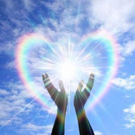 Magick hands with a rainbow heart