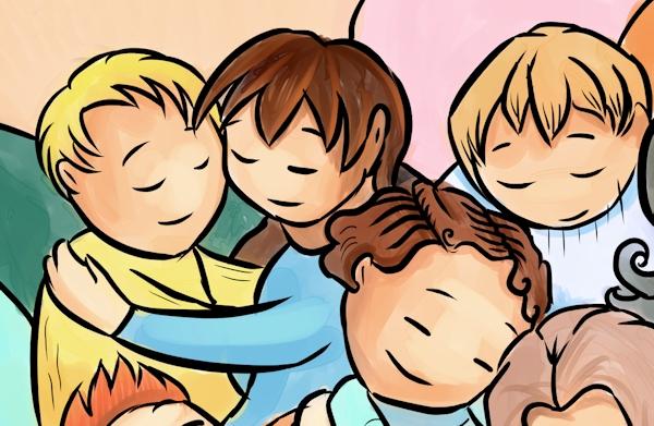 illustration of people cuddling